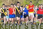 Eventual winner David Kavanagh Mercy Mounthawk (black and amber) takes to the lead ahead of Dan Hawker Kenmare (Orange bib) followed closely by Liam Carey ISK (red shirt) at the start of the Intermediate boys race in the Vocational Schools Cross Country championships in Killarney on Wednesday, David's Mounthawk team mate Conor O'Mahony (left) finished a close second