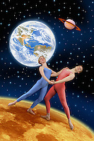 Digital illustration of a modern dance couple on he moon.
