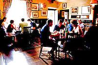 Tourists sitting inside The Trout Inn Wolvercote Oxford Oxfordshire UK..©shoutpictures.com..john@shoutpictures.com
