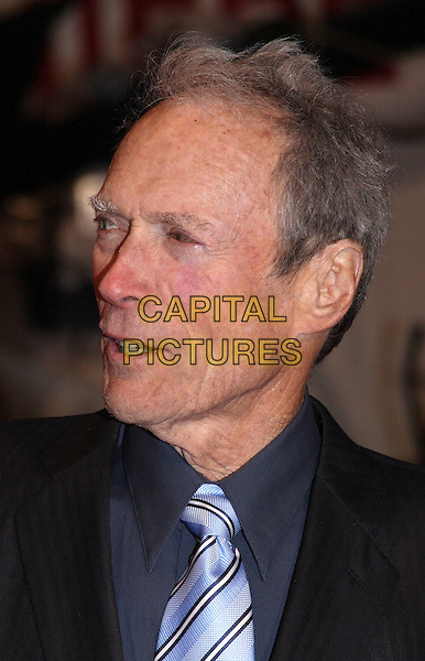 """CLINT EASTWOOD .Attending the """"Invictus'"""" UK Film Premiere at the Odeon West End cinema, Leicester Square, London, England, January 31st, 2010..arrivals portrait headshot blue tie grey gray shirt profile .CAP/JIL.©Jill Mayhew/Capital Pictures"""