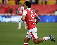 BOGOTÁ - COLOMBIA, 03-11-2018: Diego Guastavino  (Der) jugador de Santa Fe celebra después de anotar el tercer gol de su equipo al Tolima durante el encuentro entre Independiente Santa Fe y Deportes Tolima por la fecha 18 de la Liga Águila II 2018 jugado en el estadio Nemesio Camacho El Campin de la ciudad de Bogotá. / Diego Guastavino (R) player of Santa Fe celebrates after scoring the third goal of his team to Tolima during match between Independiente Santa Fe and Deportes Tolima for the date 18 of the Aguila League II 2018 played at the Nemesio Camacho El Campin Stadium in Bogota city. Photo: VizzorImage / Cont