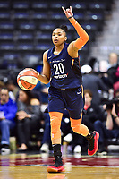 Washington, DC - June 3, 2018: Connecticut Sun guard Alex Bentley (20) brings the ball up court during game between the Washington Mystics and Connecticut Sun at the Capital One Arena in Washington, DC. (Photo by Phil Peters/Media Images International)
