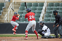Malvin Matos (26) of the Lakewood BlueClaws at bat against the Kannapolis Intimidators at Kannapolis Intimidators Stadium on April 8, 2018 in Kannapolis, North Carolina.  The Intimidators defeated the BlueClaws 4-3 in game two of a double-header.  (Brian Westerholt/Four Seam Images)