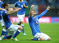 Fussball International  WM Qualifikation 2014   Italien - Daenemark                16.10.2012 Jubel mit Pablo Osvaldo und Daniele De Rossi  (v. li., Italien)