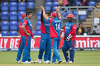 Rashid Khan (Afghanistan) celebrates with Gulbadin Naib (Afghanistan) during Afghanistan vs Sri Lanka, ICC World Cup Cricket at Sophia Gardens Cardiff on 4th June 2019