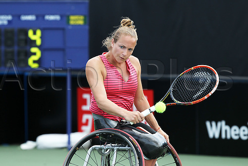 17.07.2015.  Nottingham Tennis Centre, Nottingham, England. British Open Wheelchair Tennis Championships. Backhand from Jiske Griffioen (NED) as she takes the first set against Jordanne Whiley (GBR) in the semi final