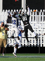 Miami Central Rockets wide receiver Devontae Phillips #81 goes up for a pass defended by Leon McQuay #22 who was called for pass interference during the second quarter of the Florida High School Athletic Association 6A Championship Game at Florida's Citrus Bowl on December 17, 2011 in Orlando, Florida.  The score at halftime is Armwood 16 - Miami Central 14.  (Mike Janes/Four Seam Images)