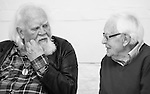 """King Lear"" rehearsed reading rehearsals. Old Vic Theatre. Director: Jonathan Miller. L to R: Joss Ackland, Tony Britton."