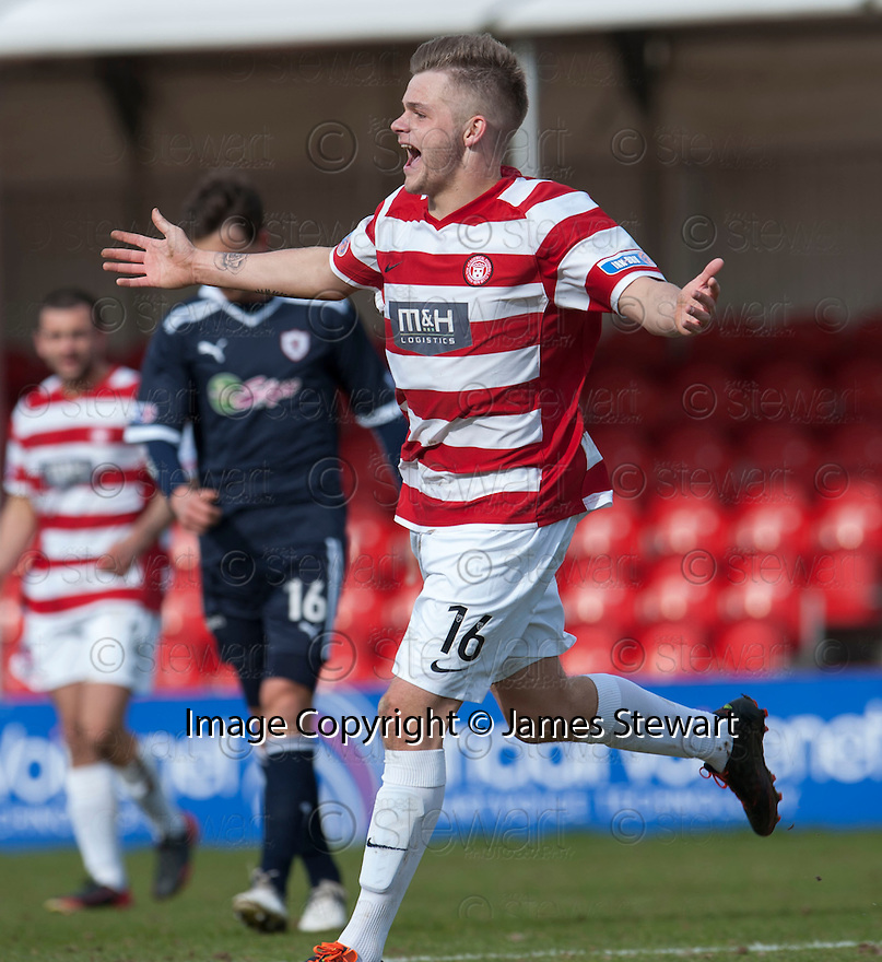 Accies Andy Ryan celebrates after he scores their second goal.