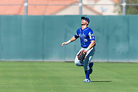 Team Italy outfielder Federico Celli (28) tracks a fly ball during an exhibition game against the Oakland Athletics at Lew Wolff Training Complex on October 3, 2018 in Mesa, Arizona. (Zachary Lucy/Four Seam Images)