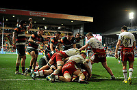 Leicester Tigers' Tom Youngs scores his side's second try<br /> <br /> Photographer Hannah Fountain/CameraSport<br /> <br /> Gallagher Premiership - Leicester Tigers v Northampton Saints - Friday 22nd March 2019 - Welford Road - Leicester<br /> <br /> World Copyright © 2019 CameraSport. All rights reserved. 43 Linden Ave. Countesthorpe. Leicester. England. LE8 5PG - Tel: +44 (0) 116 277 4147 - admin@camerasport.com - www.camerasport.com