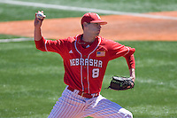 Nebraska Cornhusker pitcher Sean Yost against Texas on Sunday March 21st, 2100 at UFCU Dish-Falk Field in Austin, Texas.  (Photo by Andrew Woolley / Four Seam Images)