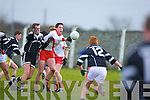 Reach out and touch...An Ghealtacht midfielder Pol O Cuinn beats Ardfert's centre back Eamon Corridan to this ball in their County League Division One clash in Ardfert on Sunday.   Copyright Kerry's Eye 2008