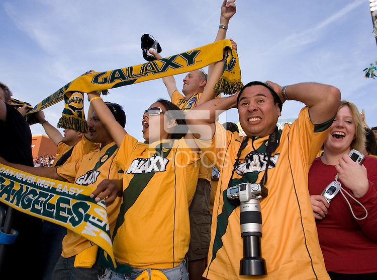 Galaxy fans celebrate. The Los Angeles Galaxy defeated the New England Revolution 1-0 in overtime at Pizza Hut Park in Frisco, Texas, Sunday, November 13, 2005.