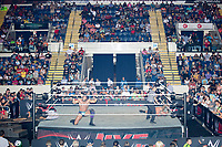 WWE Champion Jinder Mahal struggles to get up as he fights against Randy Orton at a WWE Live Summerslam Heatwave Tour event at the MassMutual Center in Springfield, Massachusetts, USA, on Mon., Aug. 14, 2017. Mahal lost the match.