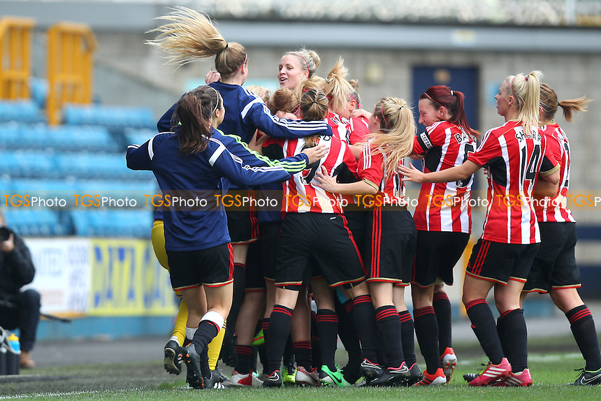 Kelly McDougall of Sunderland AFC Ladies celebrates scoring the first goal for her team - Millwall Lionesses vs Sunderland AFC Ladies - FA Womens Super League Football at Milwall FC, the New Den, London - 26/10/14 - MANDATORY CREDIT: Gavin Ellis/TGSPHOTO - Self billing applies where appropriate - contact@tgsphoto.co.uk - NO UNPAID USE