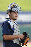 May 22, 2008: Catcher Jesus Montero (35) of the Charleston RiverDogs, Class A affiliate of the New York Yankees, prior to a game against the Greenville Drive at Fluor Field at the West End in Greenville, S.C. Photo by:  Tom Priddy/Four Seam Images