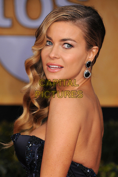 Carmen Electra.Arrivals at the 19th Annual Screen Actors Guild Awards at the Shrine Auditorium in Los Angeles, California, USA..27th January 2013.SAG SAGs headshot portrait strapless side earrings black blue navy  .CAP/ADM/BP.©Byron Purvis/AdMedia/Capital Pictures