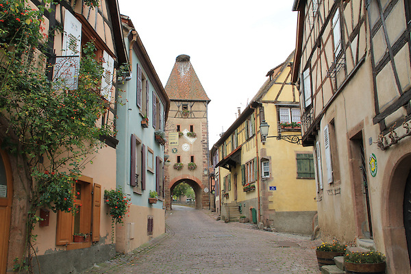 Town along the Rhine River Valley, Alsace region, France