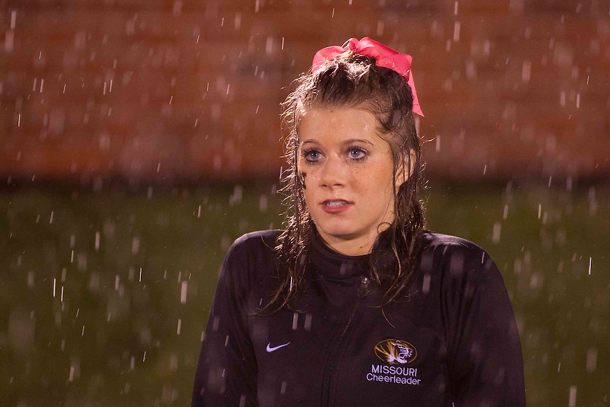 08 October 2009: Missouri cheerleader soaked from the rain in the first quarter during the game against Nebraska at at Memorial Stadium, Columbia, Missouri. Nebraska defeated Missouri 27 to 12.