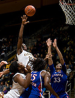Gennifer Brandon of California shoots the ball during the game against Kansas at Haas Pavilion in Berkeley, California on December 21st, 2012.  California defeated Kansas, 88-79.