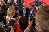 Jeremy Corbyn with supporters and press at a Labour election press conference, Tower Hamlets, London.
