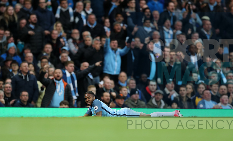 Raheem Sterling of Manchester City during the English Premier League match at The Etihad Stadium, Manchester. Picture date: April 27th, 2016. Photo credit should read: Lynne Cameron/Sportimage