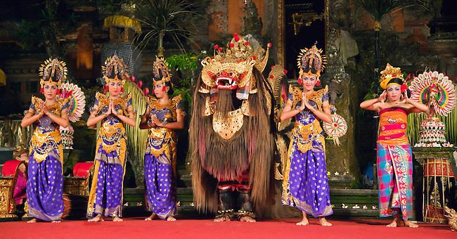 The BARONG DANCE is performed by the Cenik Wayah Gamelan Dance Group at PURA TAMAN SARASWATI - UBUD, BALI, INDONESIA