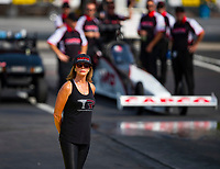 May 4, 2018; Commerce, GA, USA; Kay Torrence mother of NHRA top fuel driver Steve Torrence during qualifying for the Southern Nationals at Atlanta Dragway. Mandatory Credit: Mark J. Rebilas-USA TODAY Sports