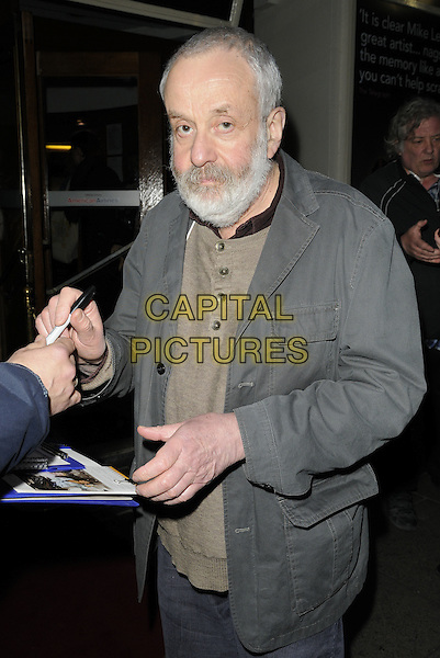 "MIKE LEIGH.the ""Ecstasy"" Press Night, Duchess Theatre, London, England, UK, .April 13th 2011..half length beard facial hair grey gray jacket  brown top t-shirt pen signing autograph .CAP/CAN.©Can Nguyen/Capital Pictures."
