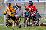 Los Angeles, CA 02/15/14 - Nick Munoz (USC #31) and Greg Sergakis (Utah #20) in action during the Utah versus USC game as part of the 2014 Pac-12 Shootout at UCLA.  Utah defeated USC 10-9.