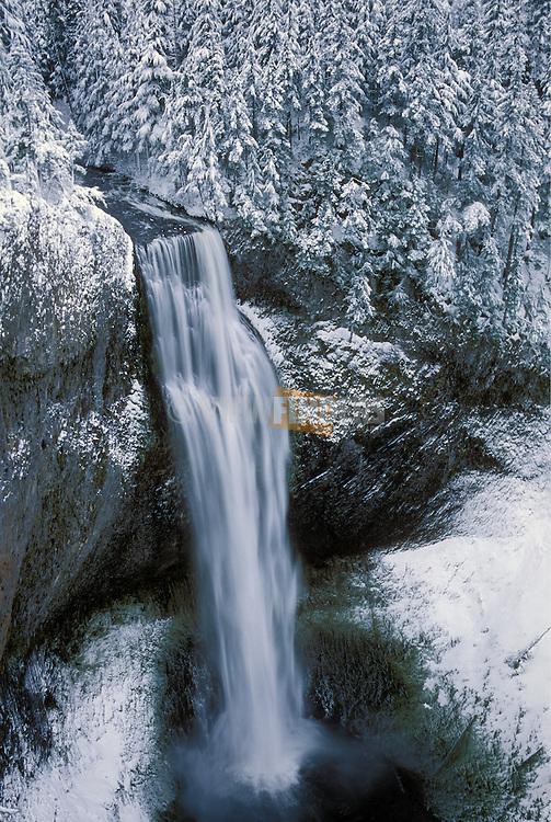 Salt Creek Falls in winter; Willamette National Forest, Cascade Mountains, Oregon.