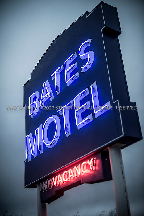 """1/28/2013--Aldergrove, British Columbia, Canada..The set of """"Bates Motel"""", an upcoming television series on A&E. The series is inspired by Alfred Hitchcock's Psycho, and will depict the life of Norman Bates (played by Freddie Highmore) and his mother Norma (played by Vera Farmiga) prior to the events portrayed in Hitchcock's film. A&E chose to skip a pilot of the series, and ordered a 10-episode first season. The series was filmed in Aldergrove, British Columbia, close to the US border and near Vancouver. It's scheduled to debut in March.....©2013 Stuart Isett. All rights reserved."""
