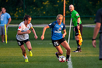 Kansas City, MO - Sunday September 3, 2017: Kelley O'Hara, Brittany Ratcliffe during a regular season National Women's Soccer League (NWSL) match between FC Kansas City and Sky Blue FC at Children's Mercy Victory Field.
