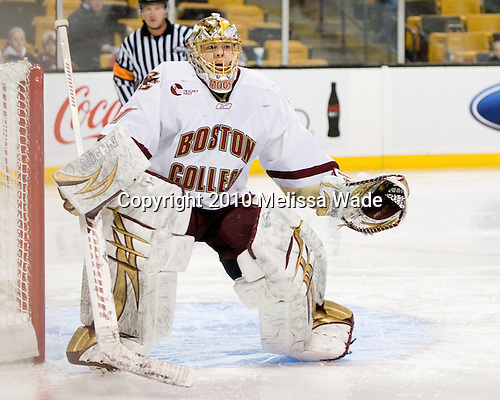 John Muse (BC - 1) - The Boston College Eagles defeated the Harvard University Crimson 6-0 on Monday, February 1, 2010, in the first round of the 2010 Beanpot at the TD Garden in Boston, Massachusetts.