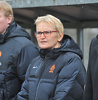 20131011 - SCHWEINFURT , GERMANY :  Dutch coach Maria Van Kortenhof pictured during the female soccer match between Belgium Women U17 and The Netherlands U17 , in the first game of the Elite round in group6 in the UEFA European Women's Under 17 competition 2013 in the Willy Sachs Stadium - Schweinfurt. Friday 11 October 2013. PHOTO DAVID CATRY