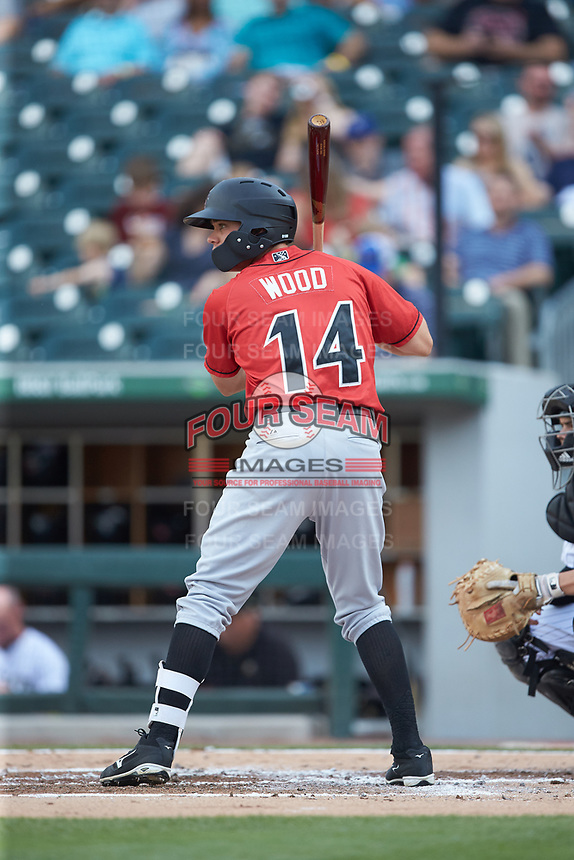 Eric Wood (14) of the Indianapolis Indians at bat against the Charlotte Knights at BB&T BallPark on May 26, 2018 in Charlotte, North Carolina. The Indians defeated the Knights 6-2.  (Brian Westerholt/Four Seam Images)
