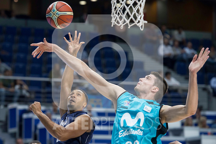 Movistar Estudiantes Victor Arteaga and Donar Groningen Jason Dourisseau during Basketball Champions League match between Movistar Estudiantes and Donar Groningen at Wizink Center in Madrid, Spain October 02, 2017. (ALTERPHOTOS/Borja B.Hojas)