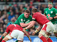 8th February 2020; Aviva Stadium, Dublin, Leinster, Ireland; International Six Nations Rugby, Ireland versus Wales; Justin Tipuric (Wales) and Jake Ball (Wales) tackle Tadhg Furlong (Ireland)
