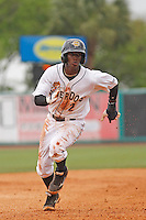 Charleston RiverDogs infielder Jorge Mateo (2) at bat during a game against the Augusta GreenJackets at Joseph P.Riley Jr. Ballpark on April 15, 2015 in Charleston, South Carolina. Charleston defeated Augusta 8-0. (Robert Gurganus/Four Seam Images)