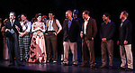 Rob McClure & Company during the Curtain Call and check presentation to Christopher Horgan, Jonathan Ziegler and Timothy Carroll from The Lil' Bravest INC Charity at 'Chaplin' at the Barrymore Theatre in New York City on 11/09/2012