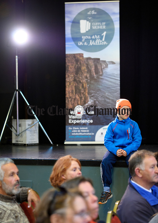 Young John Curtin watching a cooking demonstration during the Burren Food Fayre in the Pavilion, Lisdoonvarna as part of the Burren Winterage Weekend. Photograph by John Kelly.