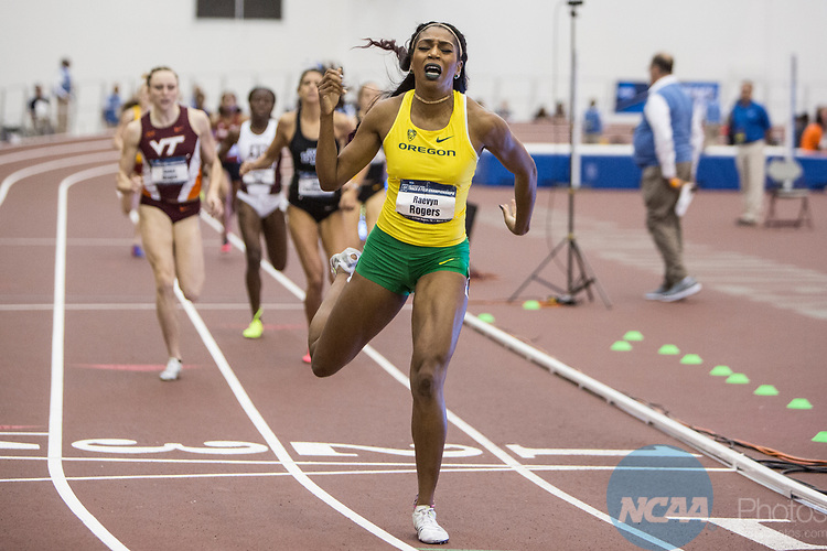 COLLEGE STATION, TX - MARCH 11: Raevyn Rogers of Oregon wins the women's 800 meter run during the Division I Men's and Women's Indoor Track & Field Championship held at the Gilliam Indoor Track Stadium on the Texas A&M University campus on March 11, 2017 in College Station, Texas. (Photo by Michael Starghill/NCAA Photos/NCAA Photos via Getty Images)