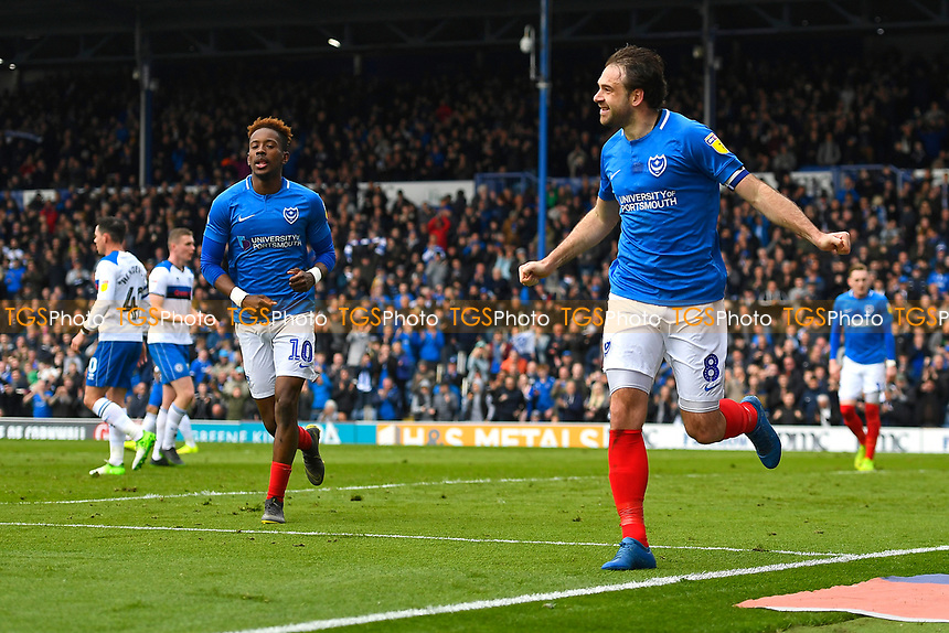Brett Pitman of Portsmouth celebrates scoring during Portsmouth vs Rochdale, Sky Bet EFL League 1 Football at Fratton Park on 13th April 2019