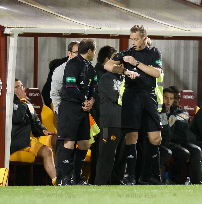 Ian Brines takes charge for the remainder of the match after a referee swap