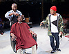 Barbershop Chronicles <br /> A co-production with Fuel &amp; West Yorkshire Playhouse<br /> by Inua Ellams<br /> at the Dorfman Theatre, National Theatre, London, Great Britain <br /> Press photocall <br /> 6th June 2017 <br /> <br /> Fisayo Akinade<br /> <br /> <br /> Abdul Salis <br /> as Kwame <br /> <br /> Cyril Nri <br /> as Emmanuel <br /> <br /> <br /> Photograph by Elliott Franks <br /> Image licensed to Elliott Franks Photography Services
