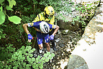 Philippe Gilbert (BEL) Quick-Step Floors from the breakaway group suffers a big crash descending the Col de Portet-d'Aspet during Stage 16 of the 2018 Tour de France running 218km from Carcassonne to Bagneres-de-Luchon, France. 24th July 2018. <br /> Picture: ASO/Pauline Ballet | Cyclefile<br /> All photos usage must carry mandatory copyright credit (© Cyclefile | ASO/Pauline Ballet)