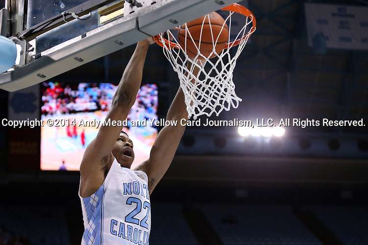 07 November 2014: North Carolina's Isaiah Hicks dunks the ball. The University of North Carolina Tar Heels played the Belmont Abbey College Crusaders in an NCAA Division I Men's basketball exhibition game at the Dean E. Smith Center in Chapel Hill, North Carolina. UNC won the game 112-34.
