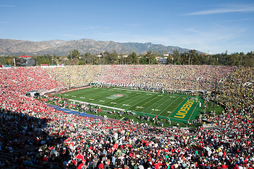 A general view of Rose Bowl Stadium prior to the opening kickoff of the Wisconsin Badgers 2012 Rose Bowl NCAA football game against the Oregon Ducks in Pasadena, California on January 2, 2012. The Ducks won 45-38. (Photo by David Stluka)