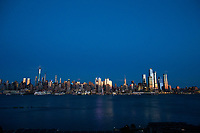 WEEHAWKEN, NJ - APRIL 21:The New York skyline is seen on the background on April 21, 2020 from Weehawken, New Jersey. (Photo by Kena Betancur/ VIEWpress via Getty Images)